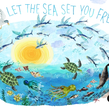 YUVAL ZOMMER - LET THE SEA SET YOU FREE! Yuval ZOMMER, author, illustrator, environmentalist and friend of the ICPBS has created this wonderful postcard for SEA CHANGE